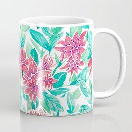 Ixora Hybrid Crimson Star Watercolor Pattern Coffee Mug
