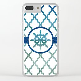 Ship Helm: Tropical Water Moroccan Pattern Clear iPhone Case