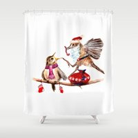 santa Shower Curtains featuring Santa by Anna Shell