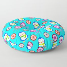 Funny happy smiling baby penguins and sweet vintage retro lollipops. Cute blue winter candy pattern Floor Pillow