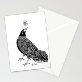 Goth Crow Illustration Stationery Cards