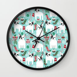 French Bulldog festive holiday pet portrait for frenchie owner pet friendly dog illustration Wall Clock