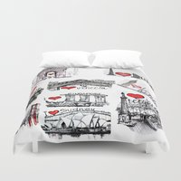 cities Duvet Covers featuring Cities 1  by sladja