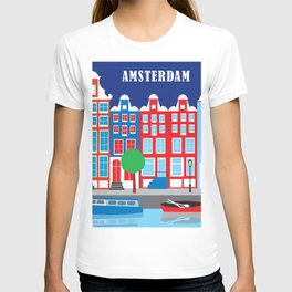 Amsterdam, Netherlands - Skyline Illustration by Loose Petals T-shirt