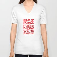 bazinga V-neck T-shirts featuring Bazinga! by Cloz000