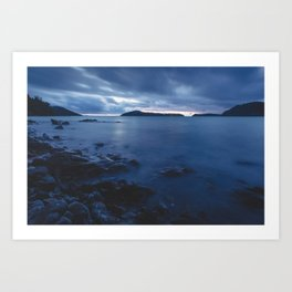 Blue Sunset on the Water, New Zealand Art Print