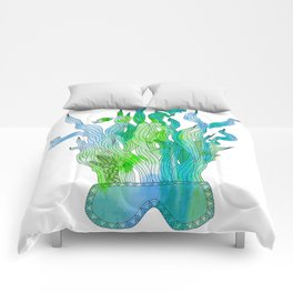 Psychedelic underwater snorkelling mask landscape Comforters