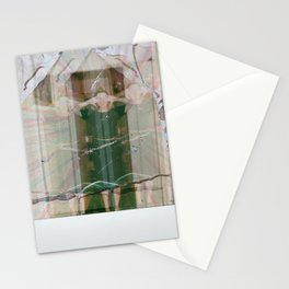 Standing woman wearing black cap sleeved dress Stationery Cards