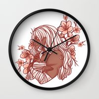 dangan ronpa Wall Clocks featuring Cherry Blossoms by bitterkiwi