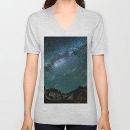 Milky Way over mountain range Unisex V-Neck