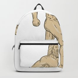 Hercules With Bottled Up Angry Octopus Drawing Backpack