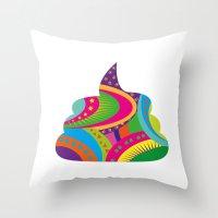poop Throw Pillows featuring Poop Art by Azadeh Navabi