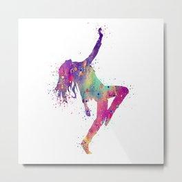 Hip-Hop Girl Art Dancer Gift Colorful Purple Watercolor Art Rap Music Gift RnB Music Metal Print