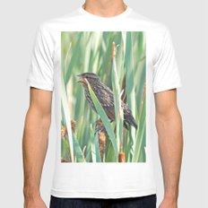 Cattails and the Bird Mens Fitted Tee White MEDIUM