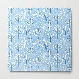 Winter forest doodles Metal Print