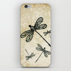 Dragonflies on tan texture iPhone & iPod Skin