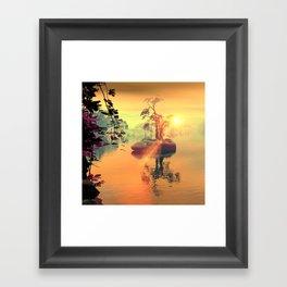 Awesome golden sunset  Framed Art Print