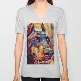Doberman 2 Unisex V-Neck