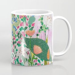 Painterly Floral Jungle on Pink and White Coffee Mug