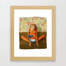 Monkey play Framed Art Print