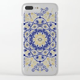 Moroccan Mandala – Gold Ink on Navy Clear iPhone Case