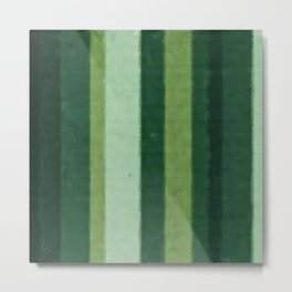 Retro Lime Green Grungy Primitive Stripes Metal Print