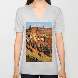 The Wreck of the Peter Iredale Unisex V-Neck