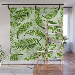 Trendy exotic floral pattern with palm leaves Wall Mural