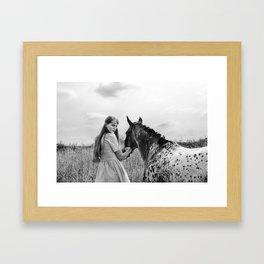 Girl with horse Framed Art Print