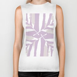 Geometric White on lilac purple autumn fall tropical pattern Palm leaves society6 Biker Tank