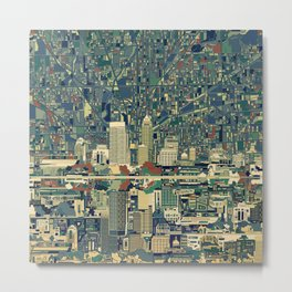 indianapolis city skyline green Metal Print