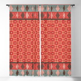 Bohemian Oriental Kilim Motif Pattern Quilt Blackout Curtain