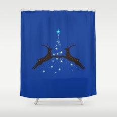 Christmas with reindeer - Blue Shower Curtain
