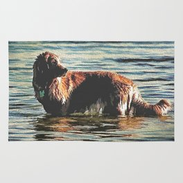 Dog Having Fun In The Water  Rug