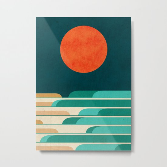 Chasing wave under the red moon Metal Print
