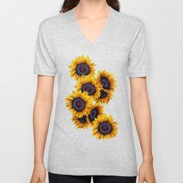 Sunflowers yellow navy blue elegant colorful pattern Unisex V-Neck