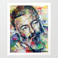 hemingway Art Prints featuring Ernest Hemingway by Marta Zawadzka