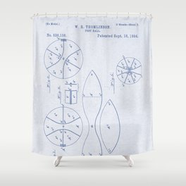 Football Patent Blue Paper Shower Curtain