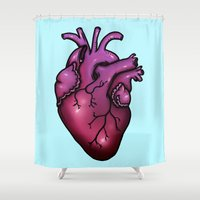 anatomical heart Shower Curtains featuring Anatomical Heart by Hungry Designs