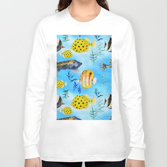 The deep sea-fishes in the sea- watercolor I Long Sleeve T-shirt