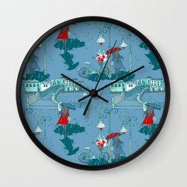 Rainy Day Umbrella and Irish Bridge Blue Vintage Romantic Art Wall Clock