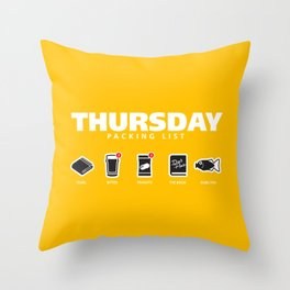 THURSDAY - The Hitchhiker's Guide to the Galaxy Packing List Throw Pillow