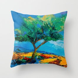 Lonely Olive Tree Throw Pillow