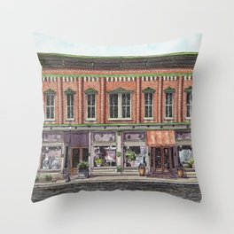 Indiana small town main street painting Throw Pillow
