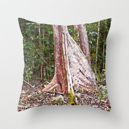 Buttress root in the rainforest Throw Pillow