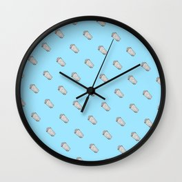 Blue Popcorn Pattern Wall Clock