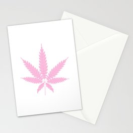 Pink Cannabis Leaf Stationery Cards