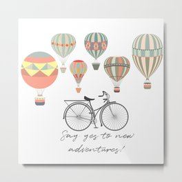Adventures. Illustration with air balloons and bicycle in vintage hipster style Metal Print