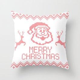 Santa with Deers Throw Pillow