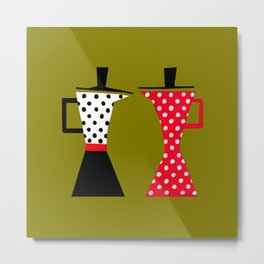 Ole coffee pot in olive green Metal Print